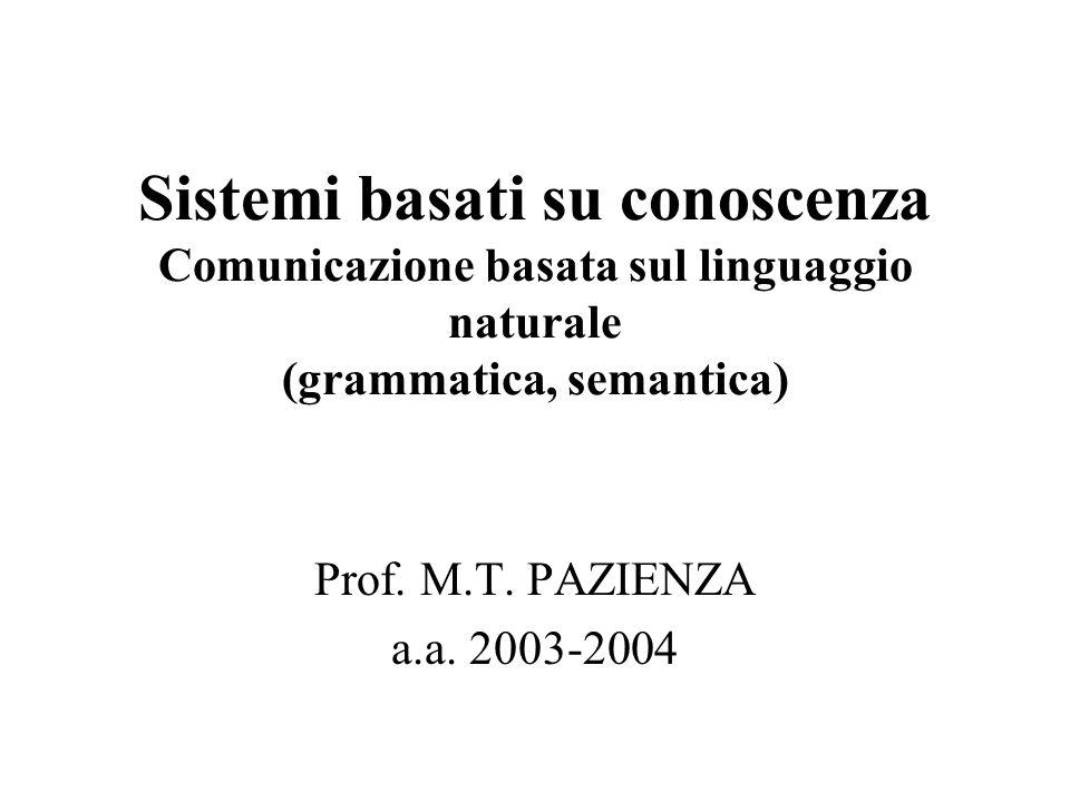 Sistemi basati su conoscenza Comunicazione basata sul linguaggio naturale (grammatica, semantica) Prof.