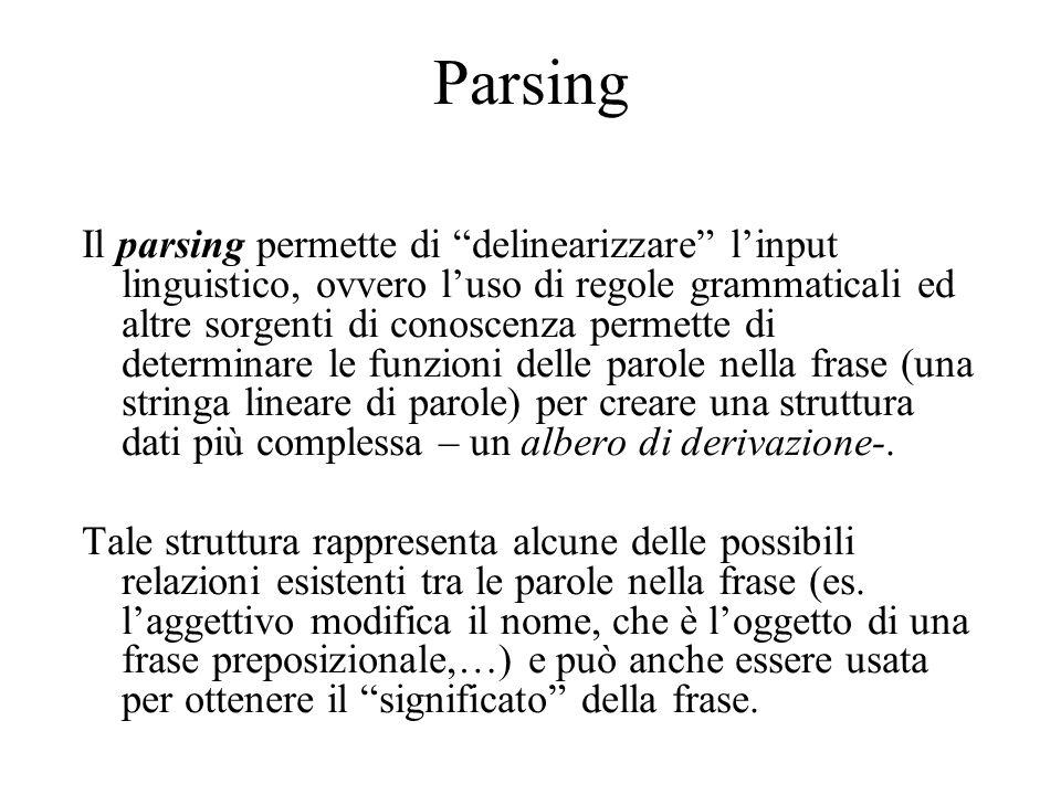 Parsing Il parsing permette di delinearizzare l'input linguistico, ovvero l'uso di regole grammaticali ed altre sorgenti di conoscenza permette di determinare le funzioni delle parole nella frase (una stringa lineare di parole) per creare una struttura dati più complessa – un albero di derivazione-.