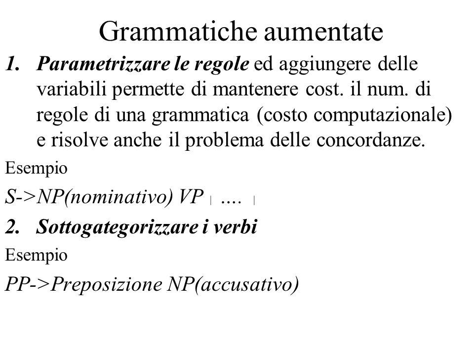 Grammatiche aumentate 1.Parametrizzare le regole ed aggiungere delle variabili permette di mantenere cost.