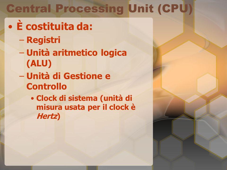 Central Processing Unit (CPU) È costituita da: –Registri –Unità aritmetico logica (ALU) –Unità di Gestione e Controllo Clock di sistema (unità di misura usata per il clock è Hertz)