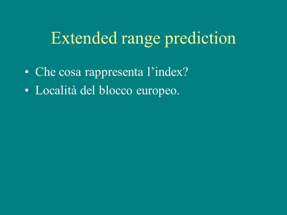 Extended range prediction Che cosa rappresenta l'index Località del blocco europeo.