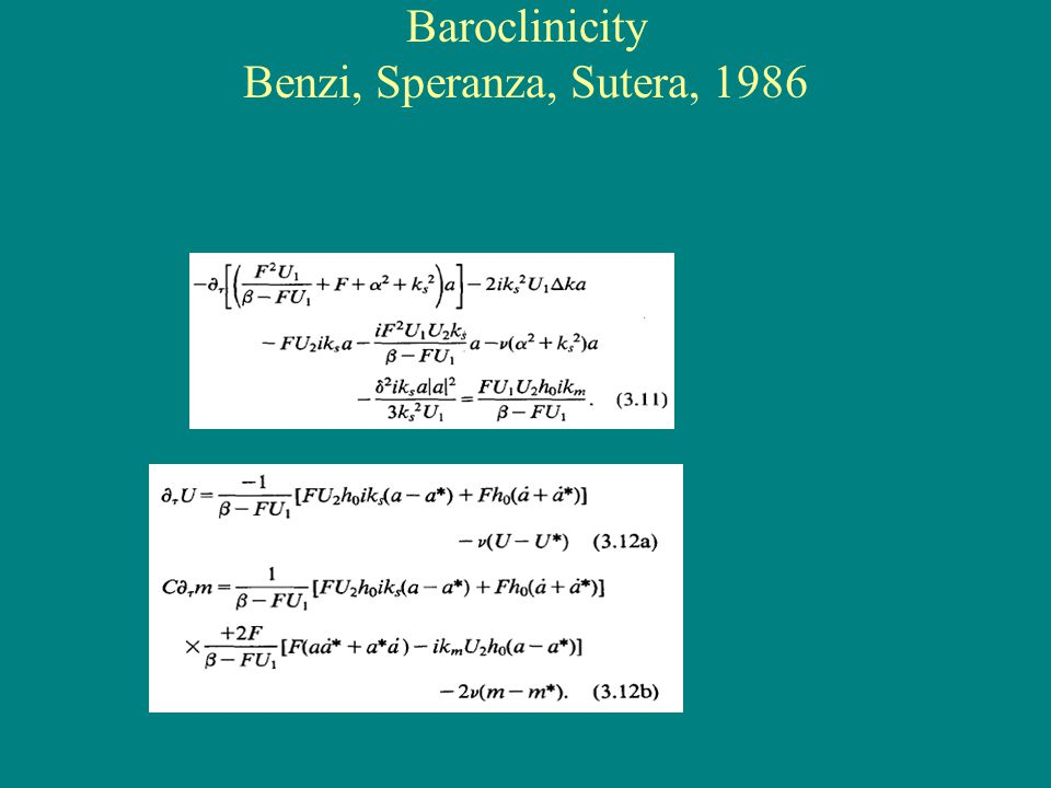 Baroclinicity Benzi, Speranza, Sutera, 1986