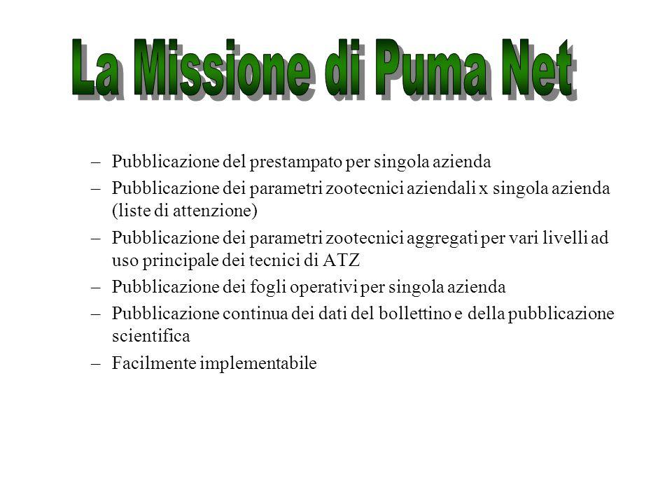 Pubblica tramite Internet i dati raccolti da Puma Db in forma aggregata (data wharehousing), integrati con i dati di consegna latte e latte qualità.