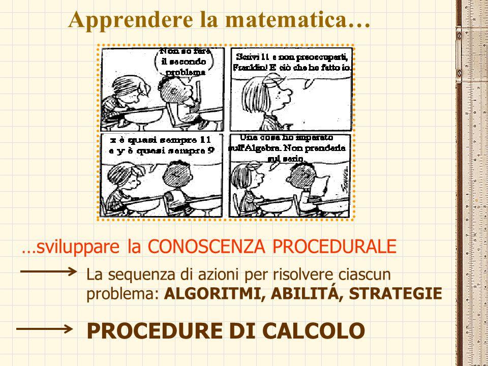 Apprendere la matematica… …sviluppare la CONOSCENZA PROCEDURALE La sequenza di azioni per risolvere ciascun problema: ALGORITMI, ABILITÁ, STRATEGIE PR
