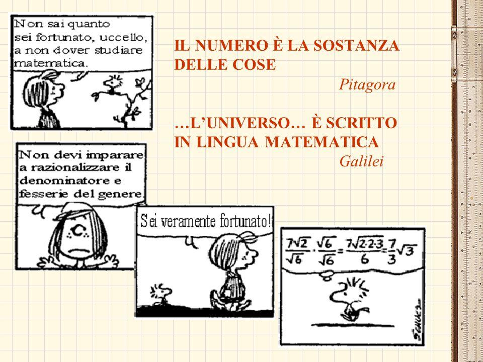 IL NUMERO È LA SOSTANZA DELLE COSE Pitagora …L'UNIVERSO… È SCRITTO IN LINGUA MATEMATICA Galilei