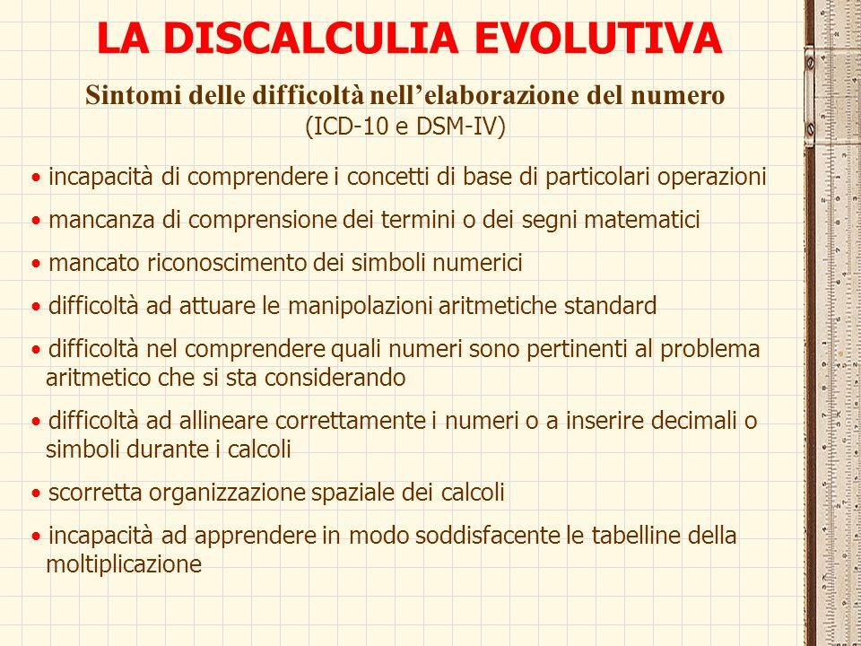 LA DISCALCULIA EVOLUTIVA Sintomi delle difficoltà nell'elaborazione del numero (ICD-10 e DSM-IV) incapacità di comprendere i concetti di base di parti
