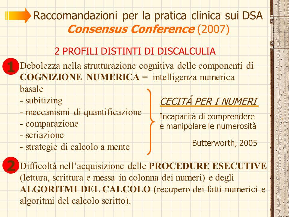 Raccomandazioni per la pratica clinica sui DSA Consensus Conference (2007) 2 PROFILI DISTINTI DI DISCALCULIA Debolezza nella strutturazione cognitiva