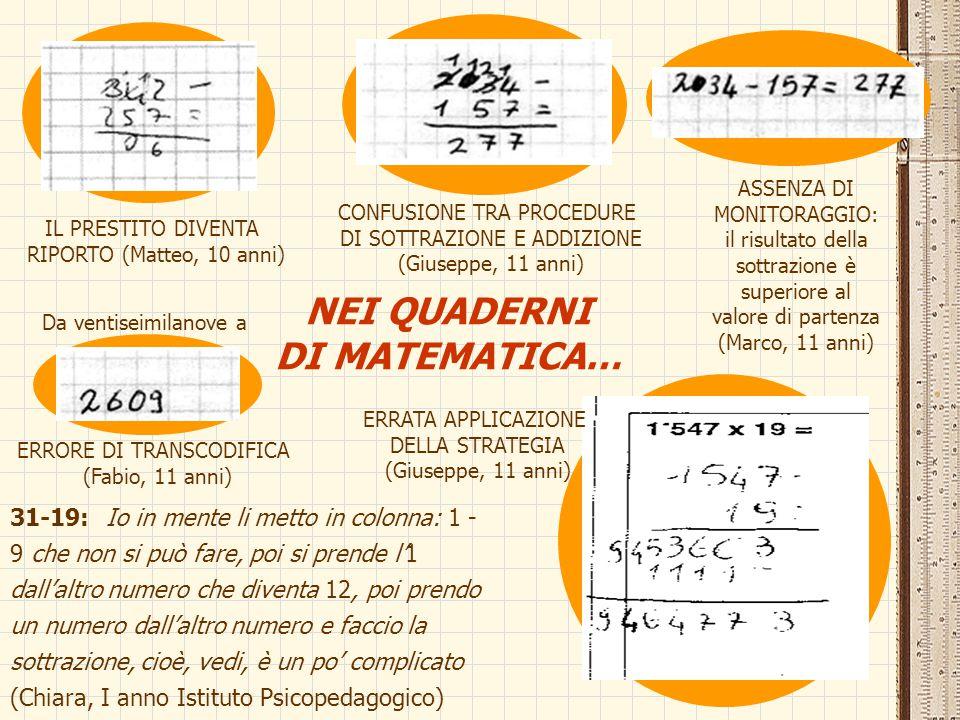 NEI QUADERNI DI MATEMATICA… 31-19:Io in mente li metto in colonna: 1 - 9 che non si può fare, poi si prende l'1 dall'altro numero che diventa 12, poi