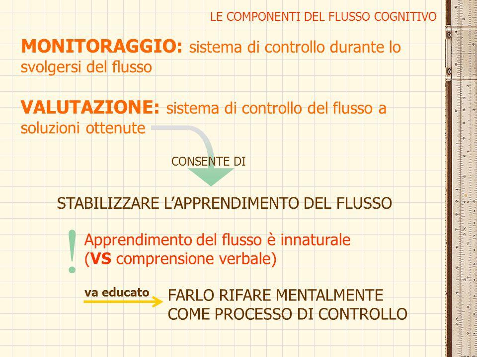 LE COMPONENTI DEL FLUSSO COGNITIVO MONITORAGGIO: sistema di controllo durante lo svolgersi del flusso VALUTAZIONE: sistema di controllo del flusso a s