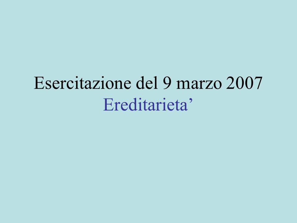 Esercitazione del 9 marzo 2007 Ereditarieta'
