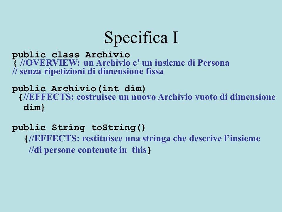 Specifica I public class Archivio { //OVERVIEW: un Archivio e' un insieme di Persona // senza ripetizioni di dimensione fissa public Archivio(int dim)