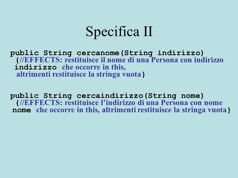 Specifica II public String cercanome(String indirizzo) { //EFFECTS: restituisce il nome di una Persona con indirizzo indirizzo che occorre in this, al