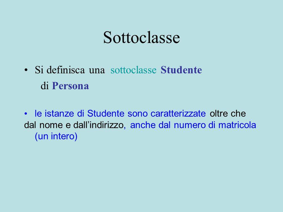 Sottoclasse Si definisca una sottoclasse Studente di Persona le istanze di Studente sono caratterizzate oltre che dal nome e dall'indirizzo, anche dal numero di matricola (un intero)