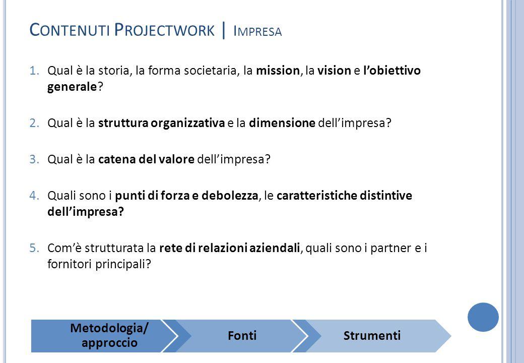 C ONTENUTI P ROJECTWORK | I MPRESA 1.Qual è la storia, la forma societaria, la mission, la vision e l'obiettivo generale? 2.Qual è la struttura organi