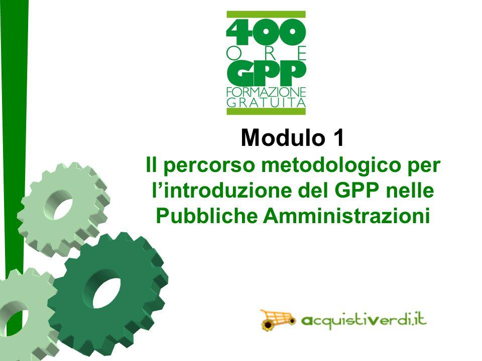 Paolo Fabbri paolo@punto3.info Modulo 1 Il percorso metodologico per l'introduzione del GPP nelle Pubbliche Amministrazioni