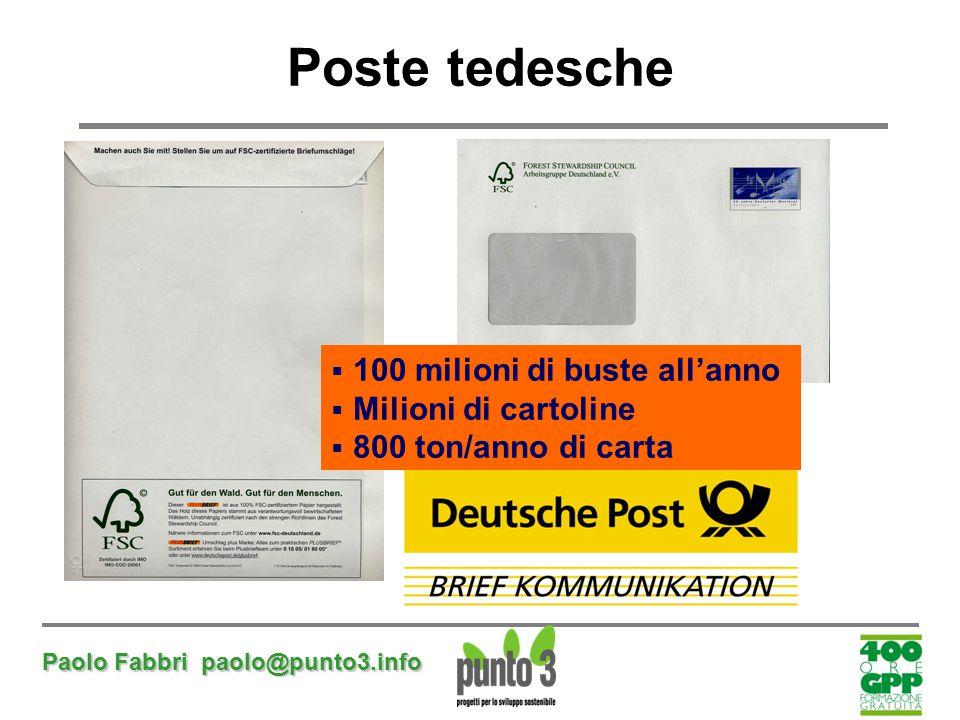 Paolo Fabbri paolo@punto3.info Poste tedesche  100 milioni di buste all'anno  Milioni di cartoline  800 ton/anno di carta