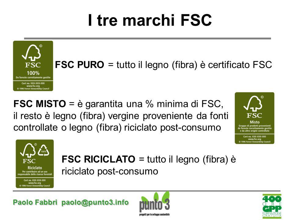 Paolo Fabbri paolo@punto3.info I tre marchi FSC FSC PURO = tutto il legno (fibra) è certificato FSC FSC MISTO = è garantita una % minima di FSC, il re