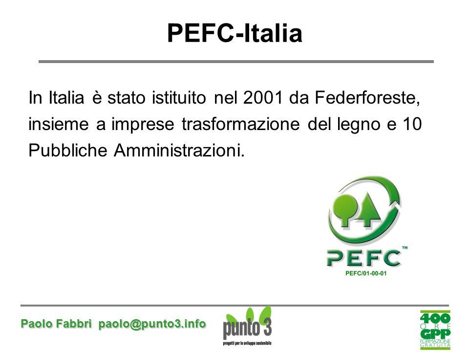 Paolo Fabbri paolo@punto3.info PEFC-Italia In Italia è stato istituito nel 2001 da Federforeste, insieme a imprese trasformazione del legno e 10 Pubbl