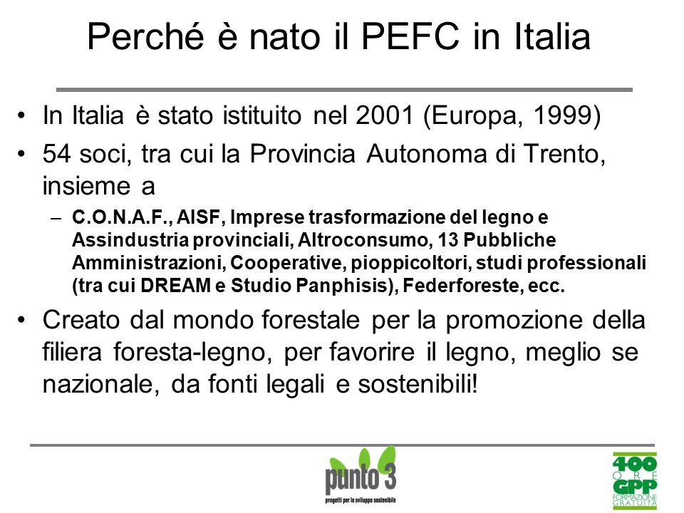 Perché è nato il PEFC in Italia In Italia è stato istituito nel 2001 (Europa, 1999) 54 soci, tra cui la Provincia Autonoma di Trento, insieme a –C.O.N