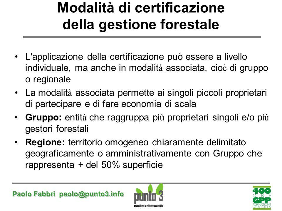 Paolo Fabbri paolo@punto3.info Modalità di certificazione della gestione forestale L'applicazione della certificazione può essere a livello individual