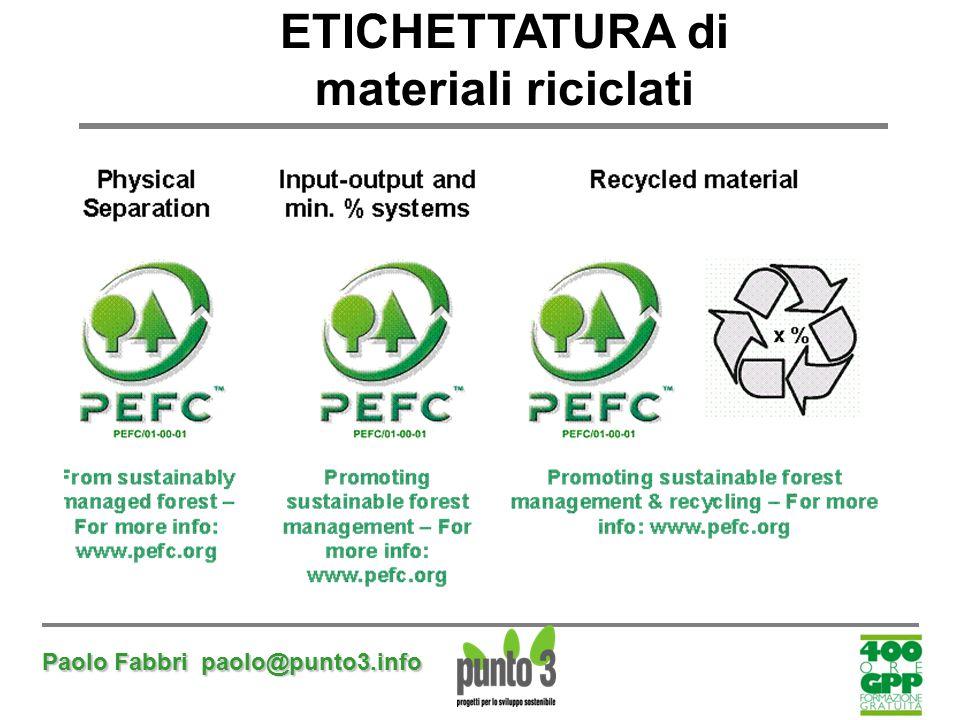 Paolo Fabbri paolo@punto3.info ETICHETTATURA di materiali riciclati
