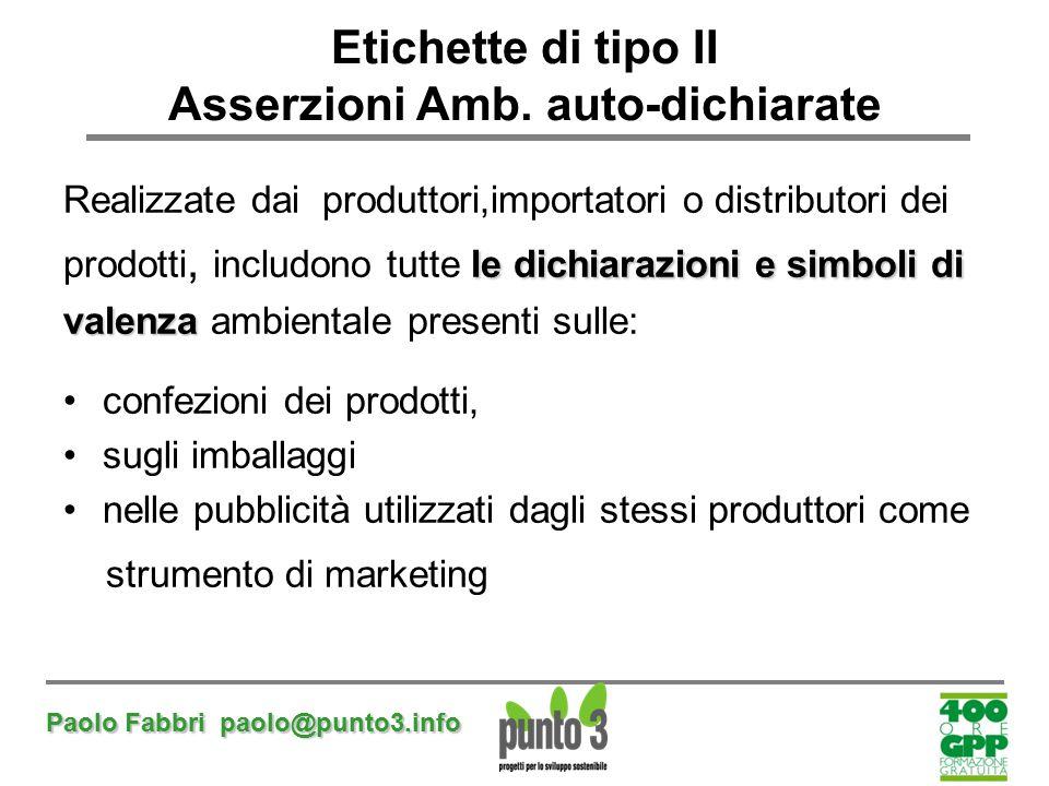 Paolo Fabbri paolo@punto3.info Etichette di tipo II Asserzioni Amb. auto-dichiarate Realizzate dai produttori,importatori o distributori dei le dichia
