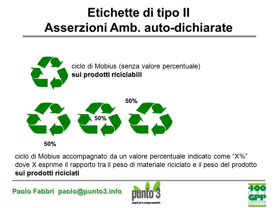 Paolo Fabbri paolo@punto3.info Etichette di tipo II Asserzioni Amb. auto-dichiarate 50% 50%50% ciclo di Mobius (senza valore percentuale) sui prodotti
