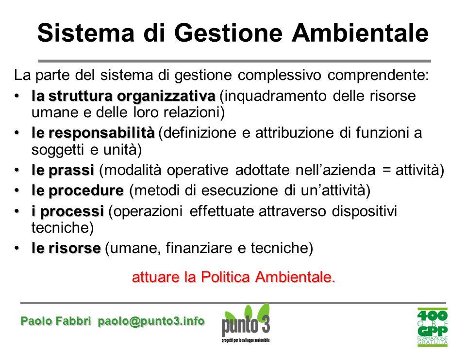Paolo Fabbri paolo@punto3.info La parte del sistema di gestione complessivo comprendente: la struttura organizzativala struttura organizzativa (inquad