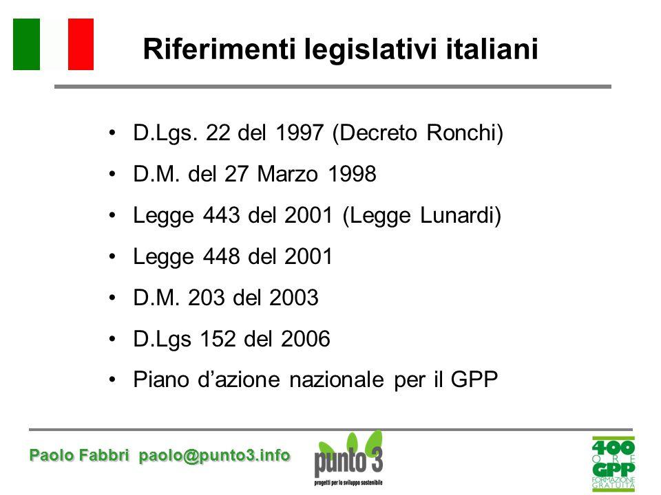 Paolo Fabbri paolo@punto3.info Riferimenti legislativi italiani D.Lgs. 22 del 1997 (Decreto Ronchi) D.M. del 27 Marzo 1998 Legge 443 del 2001 (Legge L