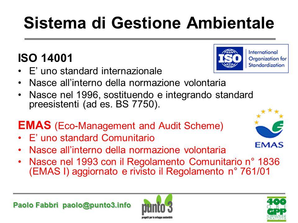 Paolo Fabbri paolo@punto3.info Sistema di Gestione Ambientale ISO 14001 E' uno standard internazionale Nasce all'interno della normazione volontaria N