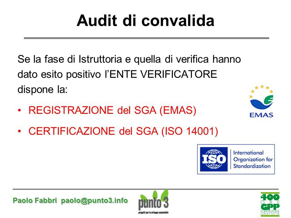 Paolo Fabbri paolo@punto3.info Audit di convalida Se la fase di Istruttoria e quella di verifica hanno dato esito positivo l'ENTE VERIFICATORE dispone