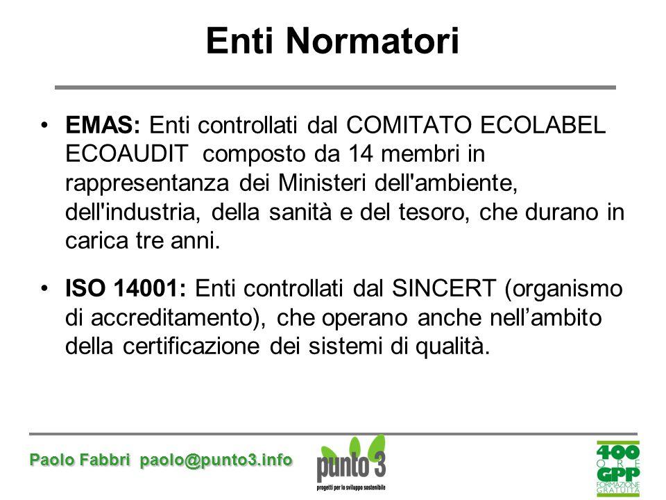 Paolo Fabbri paolo@punto3.info EMAS: Enti controllati dal COMITATO ECOLABEL ECOAUDIT composto da 14 membri in rappresentanza dei Ministeri dell'ambien