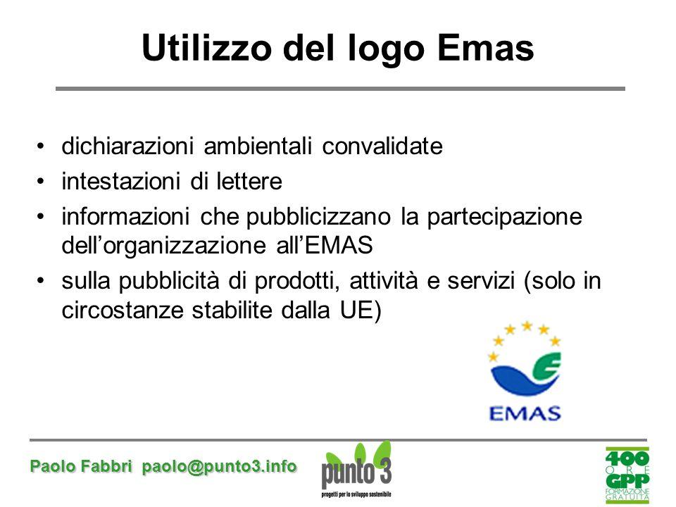 Paolo Fabbri paolo@punto3.info Utilizzo del logo Emas dichiarazioni ambientali convalidate intestazioni di lettere informazioni che pubblicizzano la p