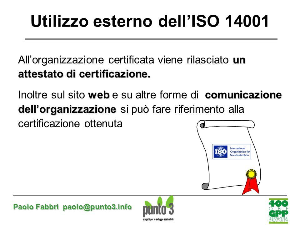 Paolo Fabbri paolo@punto3.info Utilizzo esterno dell'ISO 14001 un All'organizzazione certificata viene rilasciato un attestato di certificazione. web