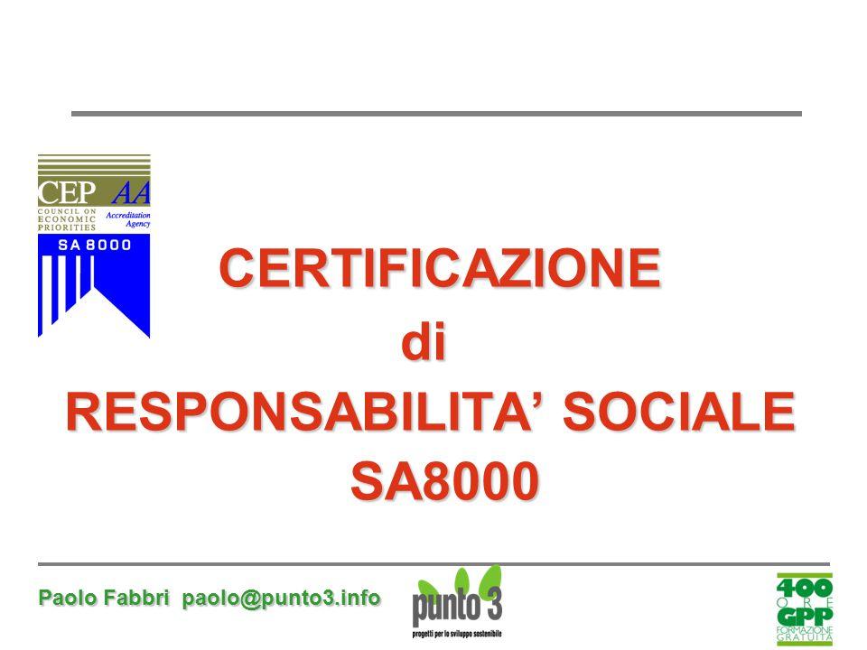 Paolo Fabbri paolo@punto3.info CERTIFICAZIONE CERTIFICAZIONEdi RESPONSABILITA' SOCIALE RESPONSABILITA' SOCIALE SA8000 SA8000