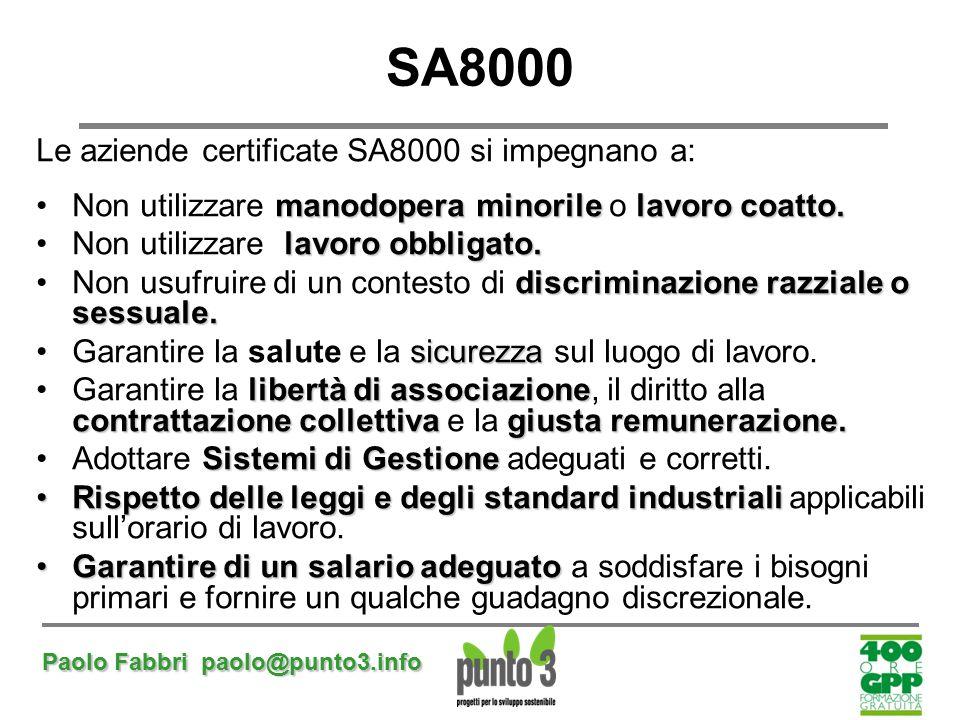 Paolo Fabbri paolo@punto3.info SA8000 Le aziende certificate SA8000 si impegnano a: manodopera minorilelavoro coatto.Non utilizzare manodopera minoril