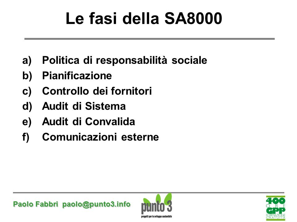 Paolo Fabbri paolo@punto3.info Le fasi della SA8000 a)Politica di responsabilità sociale b)Pianificazione c)Controllo dei fornitori d)Audit di Sistema