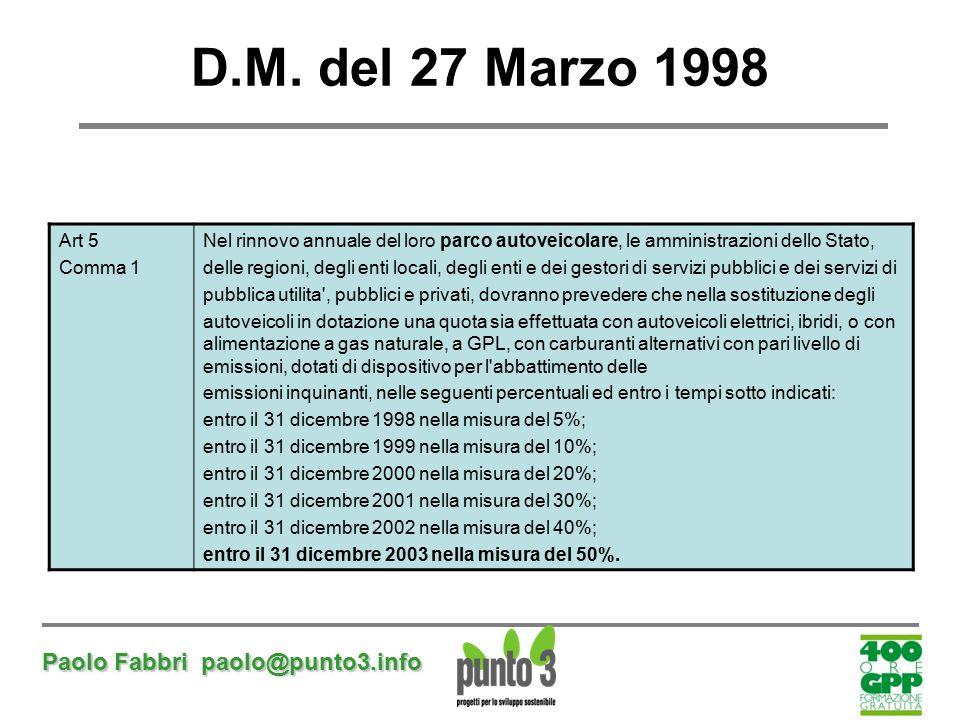 Paolo Fabbri paolo@punto3.info D.M. del 27 Marzo 1998 Art 5 Comma 1 Nel rinnovo annuale del loro parco autoveicolare, le amministrazioni dello Stato,