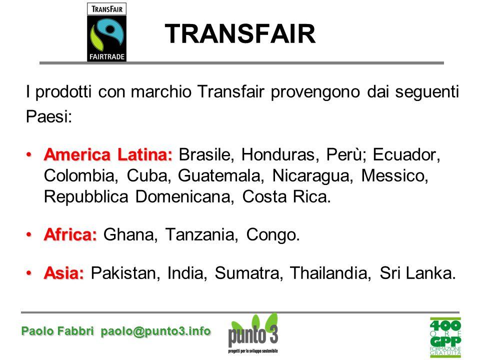 Paolo Fabbri paolo@punto3.info TRANSFAIR I prodotti con marchio Transfair provengono dai seguenti Paesi: America Latina:America Latina: Brasile, Hondu