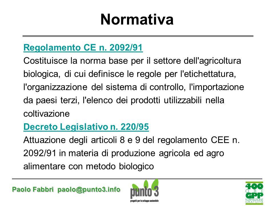 Paolo Fabbri paolo@punto3.info Normativa Regolamento CE n. 2092/91 Costituisce la norma base per il settore dell'agricoltura biologica, di cui definis