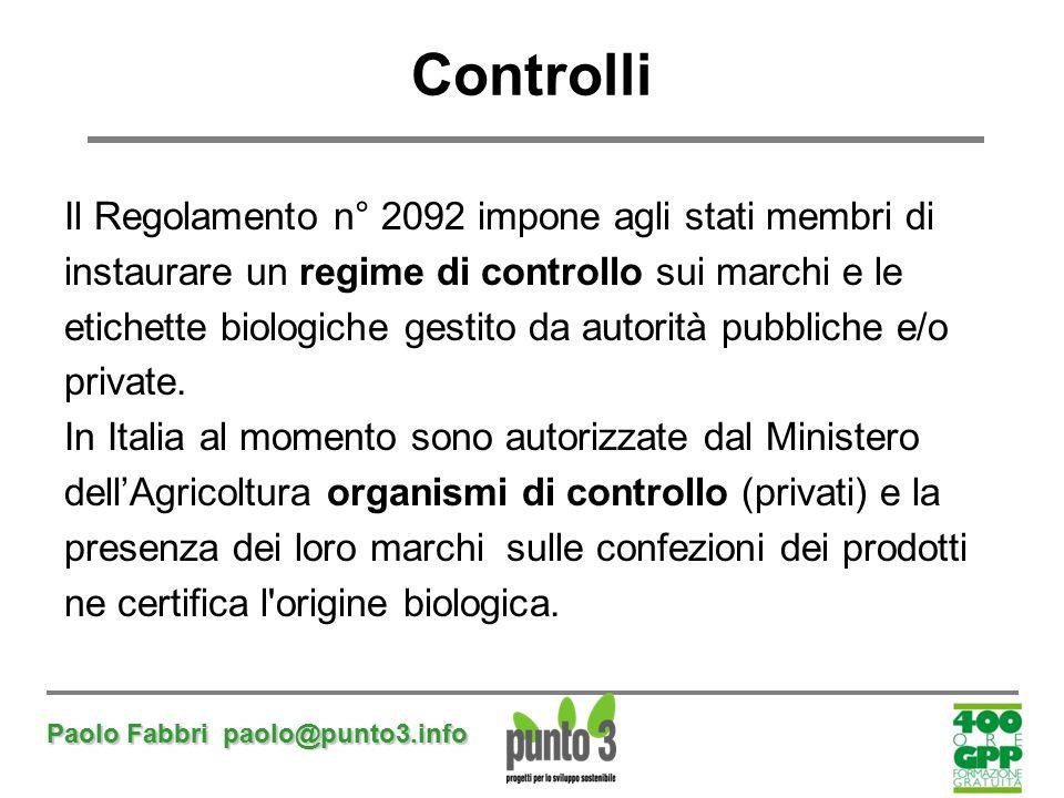 Paolo Fabbri paolo@punto3.info Controlli Il Regolamento n° 2092 impone agli stati membri di instaurare un regime di controllo sui marchi e le etichett