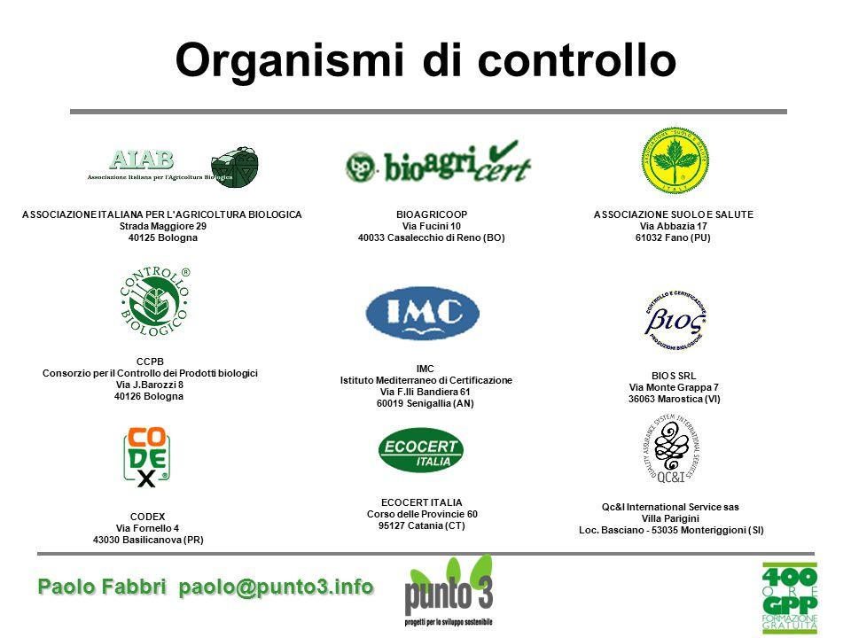 Paolo Fabbri paolo@punto3.info Organismi di controllo ASSOCIAZIONE ITALIANA PER L'AGRICOLTURA BIOLOGICA Strada Maggiore 29 40125 Bologna BIOAGRICOOP V