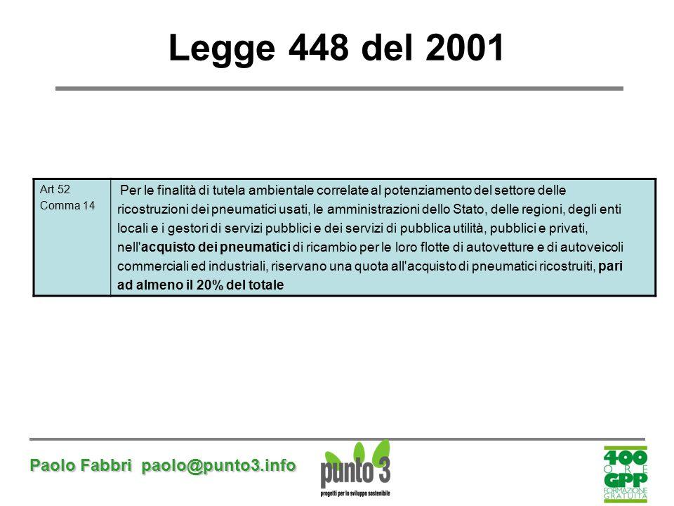 Paolo Fabbri paolo@punto3.info Legge 448 del 2001 Art 52 Comma 14 Per le finalità di tutela ambientale correlate al potenziamento del settore delle ri