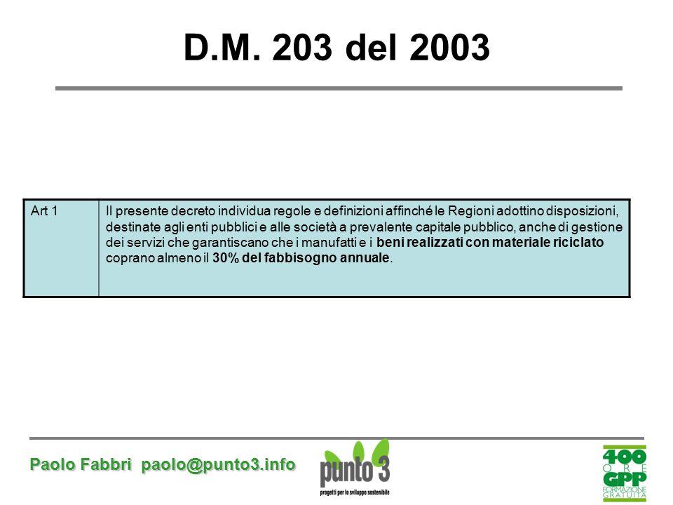 Paolo Fabbri paolo@punto3.info D.M. 203 del 2003 Art 1Il presente decreto individua regole e definizioni affinché le Regioni adottino disposizioni, de