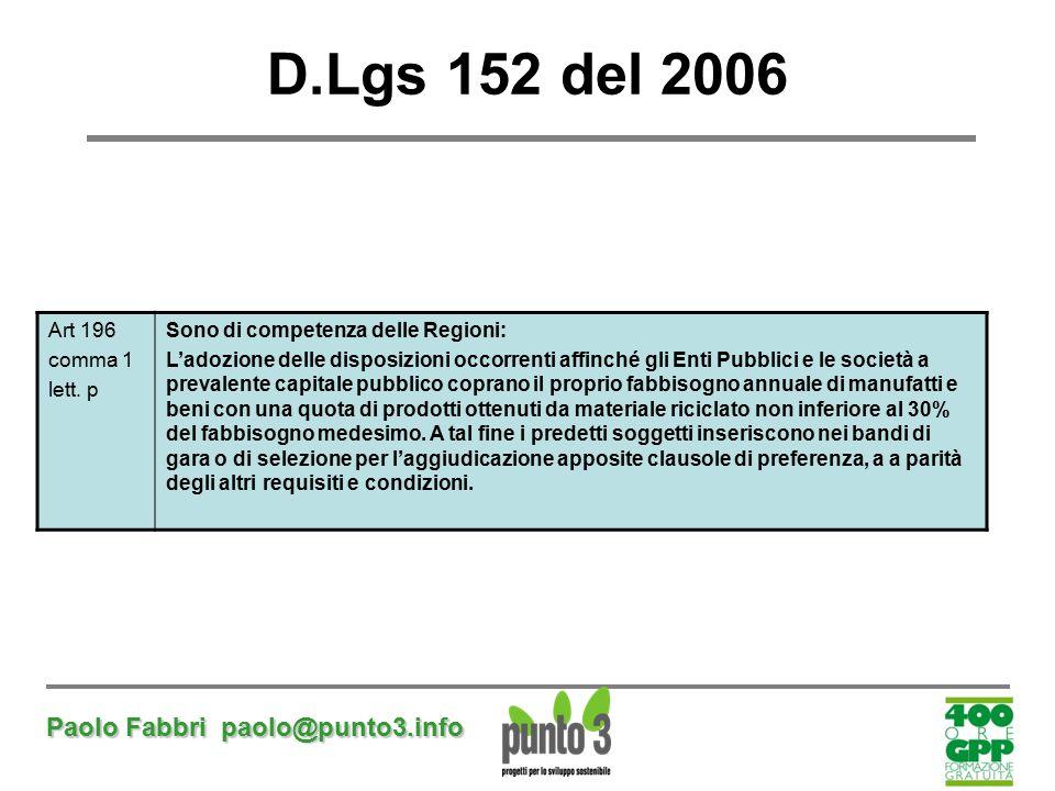 Paolo Fabbri paolo@punto3.info D.Lgs 152 del 2006 Art 196 comma 1 lett. p Sono di competenza delle Regioni: L'adozione delle disposizioni occorrenti a