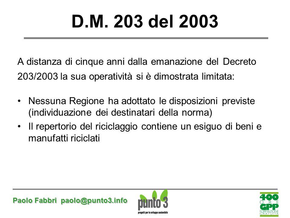 Paolo Fabbri paolo@punto3.info D.M. 203 del 2003 A distanza di cinque anni dalla emanazione del Decreto 203/2003 la sua operatività si è dimostrata li