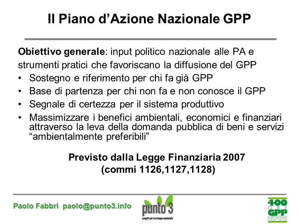 Paolo Fabbri paolo@punto3.info Il Piano d'Azione Nazionale GPP Obiettivo generale: input politico nazionale alle PA e strumenti pratici che favoriscan