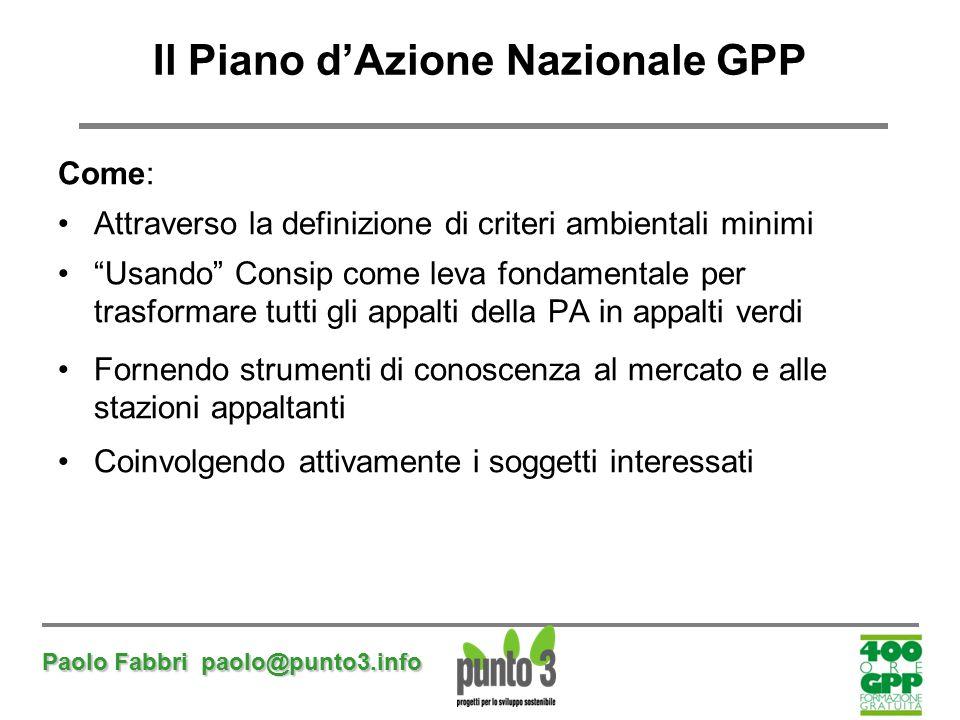 """Paolo Fabbri paolo@punto3.info Il Piano d'Azione Nazionale GPP Come: Attraverso la definizione di criteri ambientali minimi """"Usando"""" Consip come leva"""