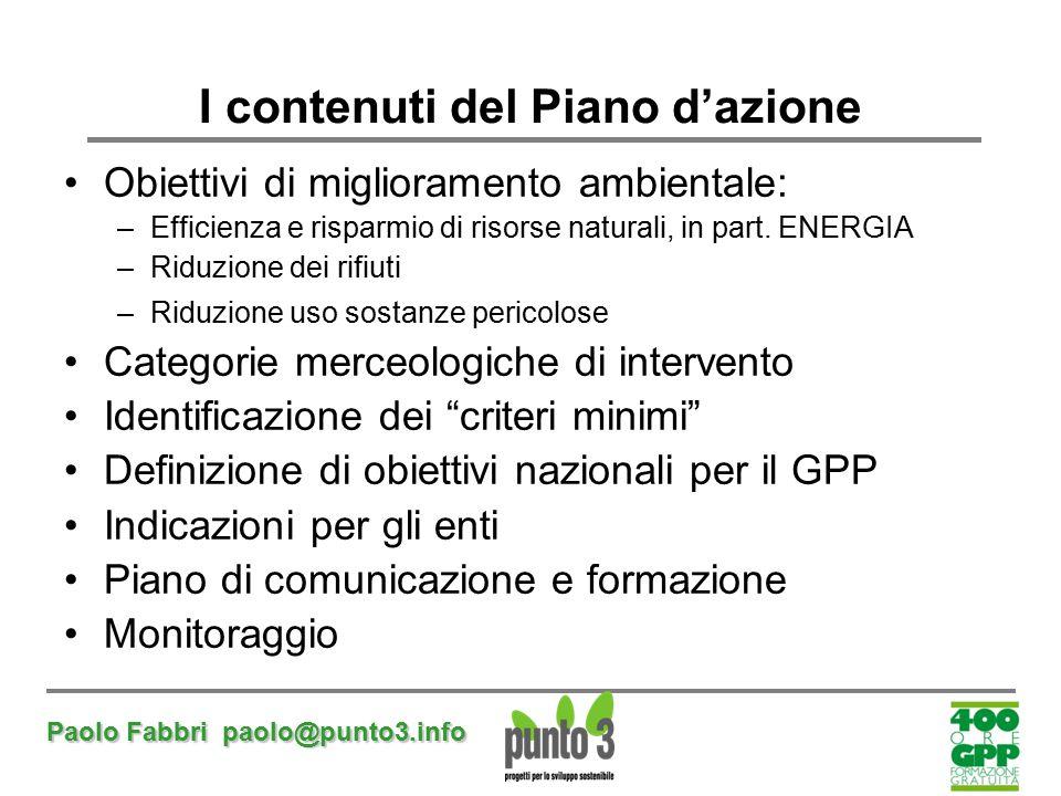 Paolo Fabbri paolo@punto3.info I contenuti del Piano d'azione Obiettivi di miglioramento ambientale: –Efficienza e risparmio di risorse naturali, in p