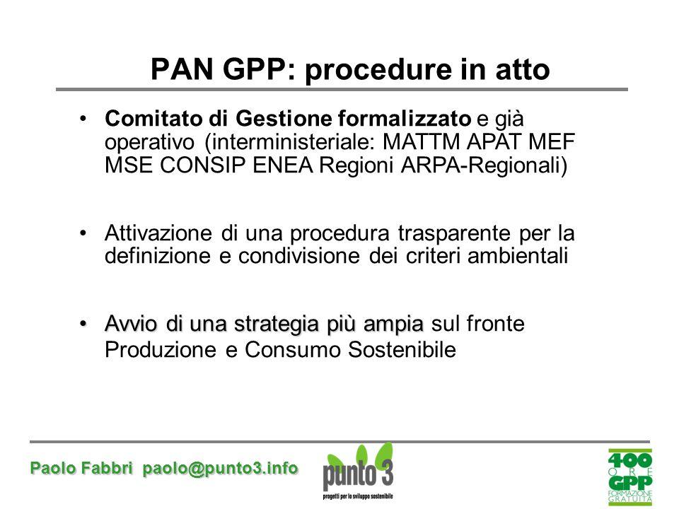 Paolo Fabbri paolo@punto3.info PAN GPP: procedure in atto Comitato di Gestione formalizzato e già operativo (interministeriale: MATTM APAT MEF MSE CON